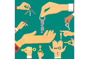 Hands holding key apartment selling human gesture sign security house concept vector illustration.