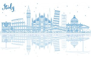 Outline Italy Skyline