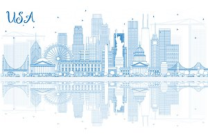 Outline USA Skyline