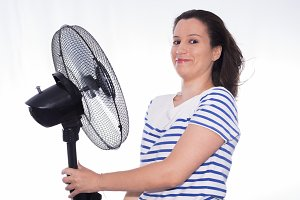 Girl and fan.