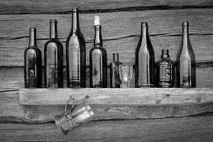 Bottles and glass