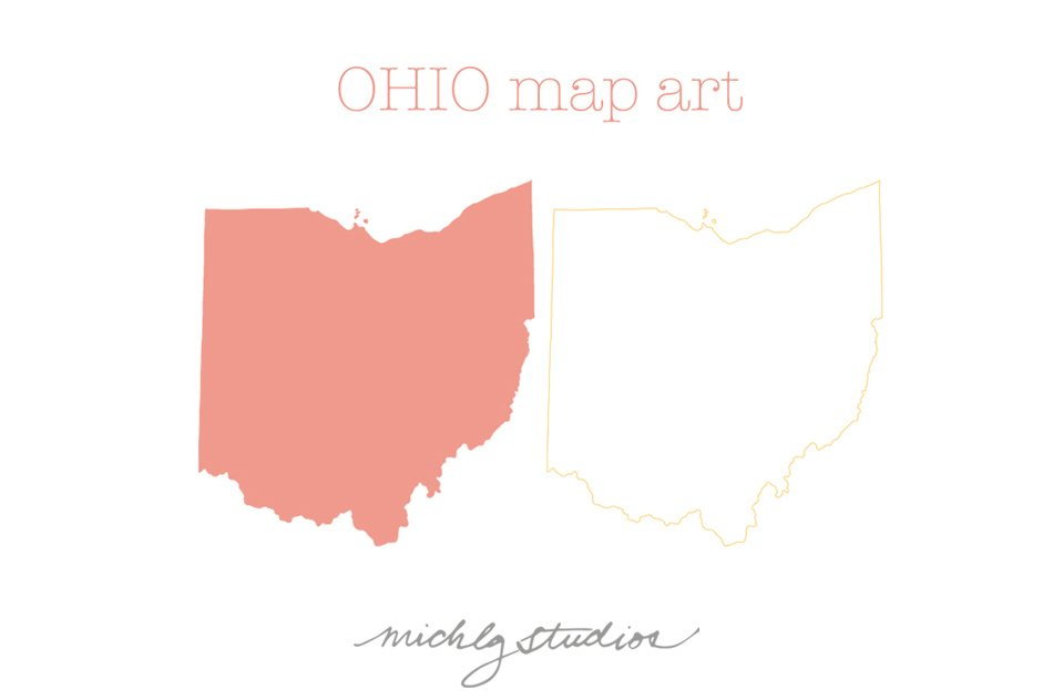 ohio vector png map clipart illustrations creative market