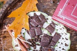 chocolate on wooden barrel