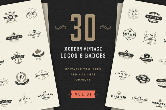 30 Vintage Logos Badges
