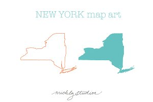 New York VECTOR & PNG map clip art