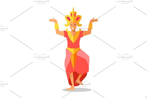 Thailand Woman Dancer Vector Icon In Flat Design