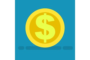 Big Dollar Symbol on Gold Coin Icon Cartoon Style