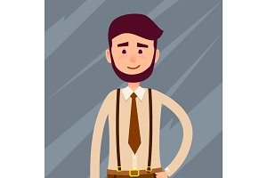Bearded Cartoon Character Cropped Illustration