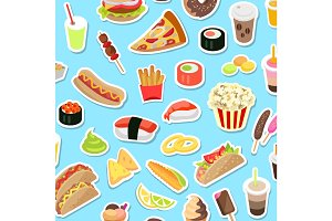 Fast and Junk kinds of Food Scattered on Blue