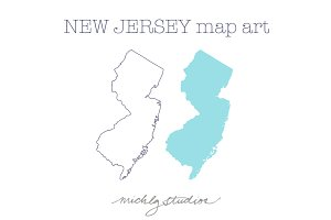 New Jersy VECTOR & PNG map clipart