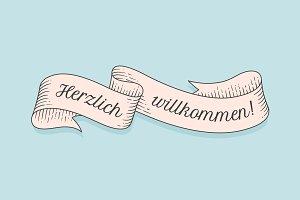 Herzlich Wllkommen, old school vintage ribbon