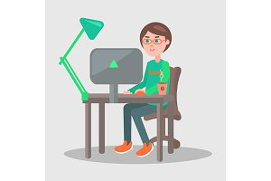 Cartoon Man Sits at Table with Laptop Illustration