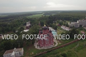 Flying over Lukino Village with Cathedral of Ascension