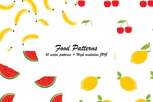 Ten seamless food patterns