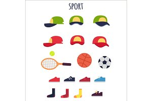 Sport Clothes and Equipments Vector Collection