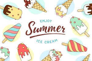 Ice cream icons pattern with text Enjoy Summer