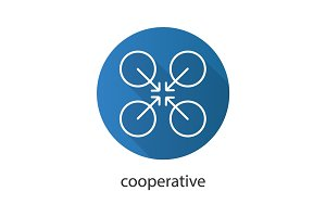 Cooperative abstract symbol. Flat linear long shadow icon