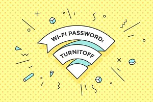 Vintage ribbon WiFi sign for free wi-fi in cafe or restaurant
