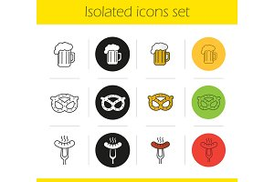 Beer snacks icons set
