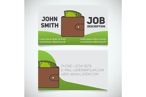 Business card print template with cash logo