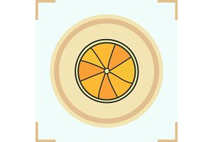 Orange fruit color icon