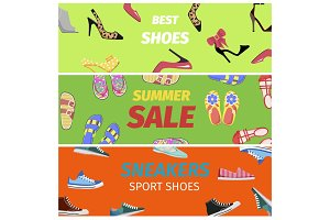 Best Summer Sale of Sneakers Sport Shoes Banners.