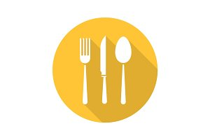 Cutlery set flat design long shadow icon