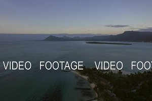 Mauritius Island aerial scene with ocean, coast and mountain ranges