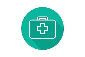 First aid kit flat linear long shadow icon