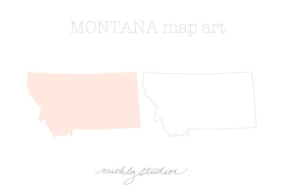 Montana VECTOR & PNG map art in Illustrations