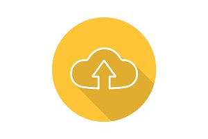 Cloud storage files uploading. Flat linear long shadow icon