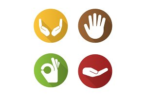 Hand gestures flat design long shadow icons set