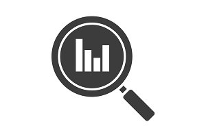 Statistics search glyph icon