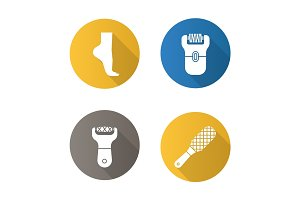 Feet care flat design long shadow icons set