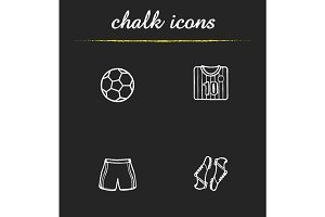 Soccer chalk icons set