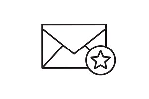 Letter with star mark linear icon