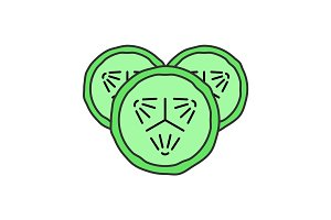 Cucumber slices color icon