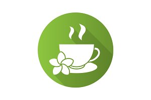 Herbal teacup flat design long shadow icon