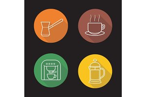 Coffee flat linear long shadow icons set