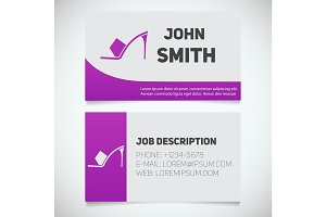 Business card print template with high heel shoe logo