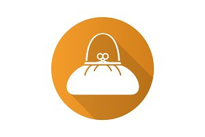 Women's purse flat design long shadow icon