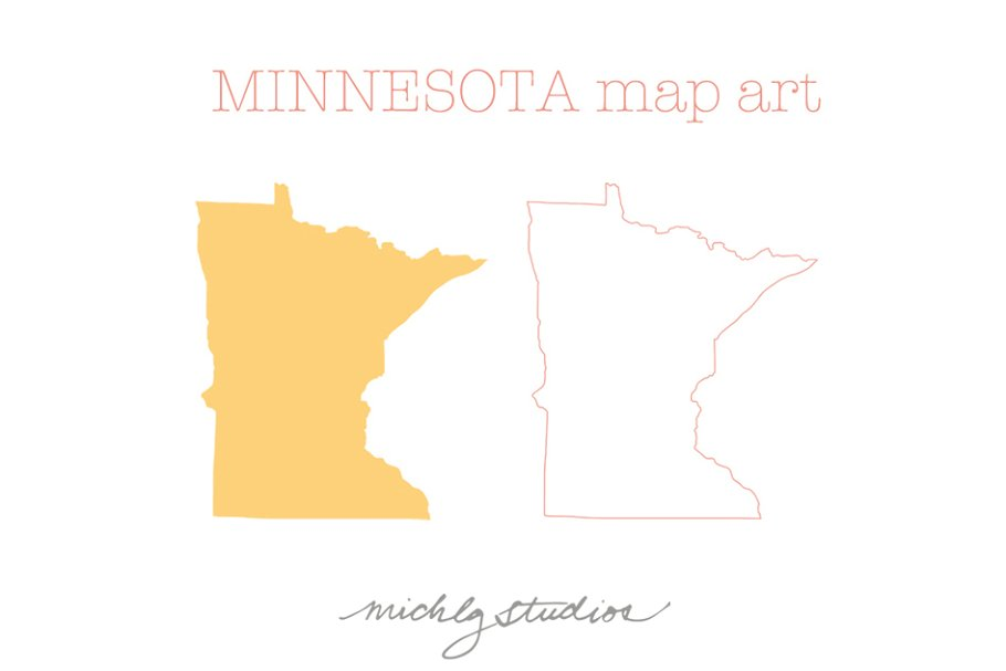 Minnesota Map Png.Minnesota Vector Png Map Art Illustrations Creative Market