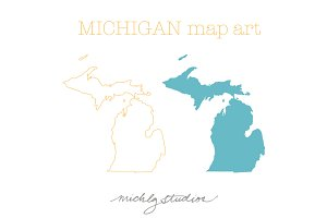 Michigan VECTOR & PNG map art