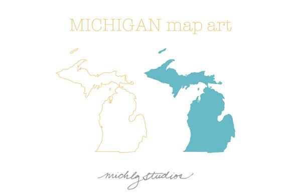 Michigan VECTOR & PNG map art