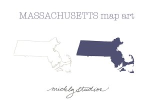 Massachusetts VECTOR & PNG map art