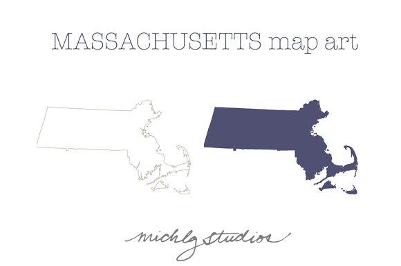Massachusetts VECTOR & PNG map art