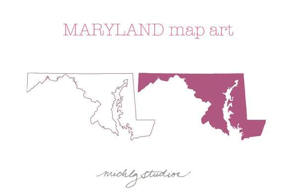 Maryland VECTOR & PNG map art