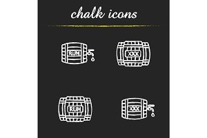 Alcohol wooden barrels chalk icons set