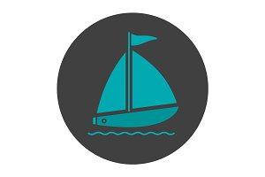 Sailboat glyph color icon