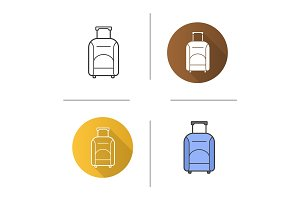 Luggage suitcase on wheels icon